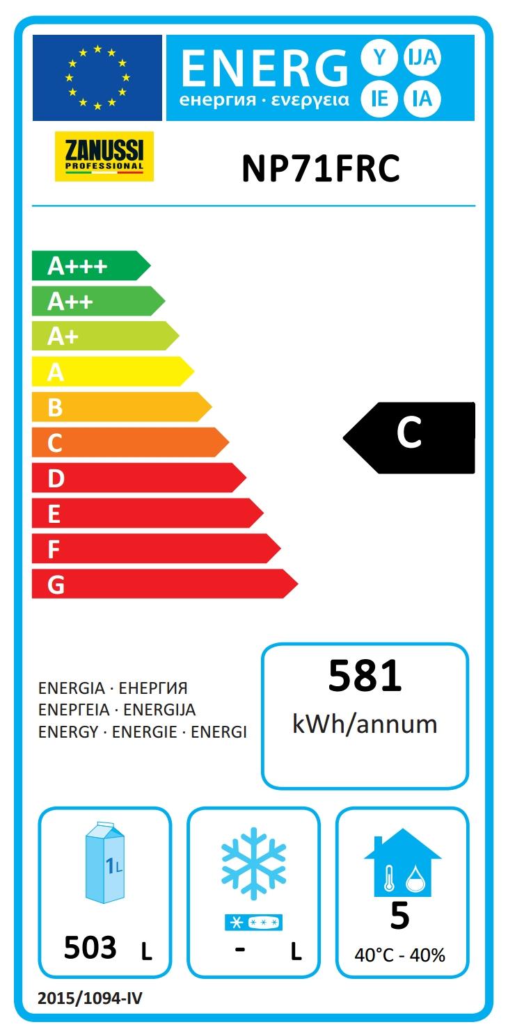 NPT Active<br>Frigo digitale 670 lt, 1 porta, -2+10°C, AISI 304, gas R290