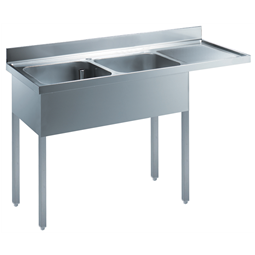 Standard PreparationSink for Dishwasher with 2 Bowls & Right Drain