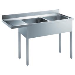Standard PreparationSink for Dishwasher with 2 Bowls & Left Drain