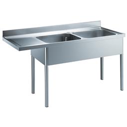 Rozsdamentes acél előkészítő bútorok2 medencés mosogató elem, bal oldali csepegtetővel