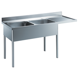 Premium PreparationSink Unit with 2 Bowls - Right Drain
