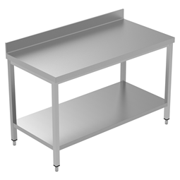 PLUS - Static Preparation1400 mm Work Table with Upstand and with Lower Shelf