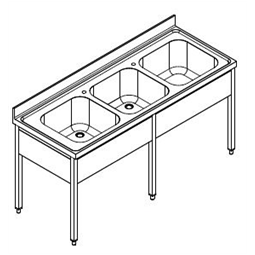 Premium PreparationSink unit with 3 bowls, 1900mm