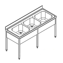 Premium PreparationSink unit with 3 bowls 1600mm