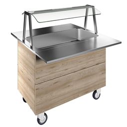 Flexy CompactBain-marie, one well (3GN) with wheels H=900mm, overshelf with LED lights