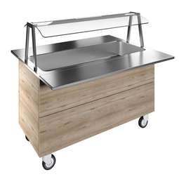 Flexy CompactBain-marie, one well (4GN) with wheels H=900mm, overshelf with LED lights