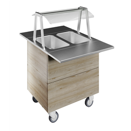 Flexy CompactBain-marie, two wells (2GN) with wheels H=900mm, overshelf with LED lights
