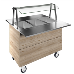 Flexy CompactBain-marie, three wells (3GN) with wheels H=900mm, overshelf with LED lights
