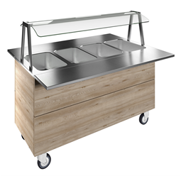 Flexy CompactBain-marie, four wells (4GN) with wheels H=900mm, overshelf with LED lights