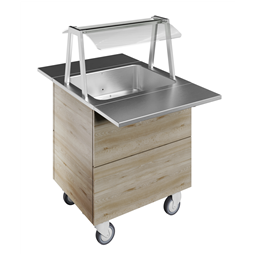 Flexy CompactBain-marie air ventilated, one well (2GN) with wheels H=900mm, overshelf with LED lights