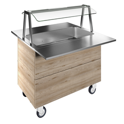 Flexy CompactBain-marie air ventilated, one well (3GN) with wheels H=900mm, overshelf with LED lights