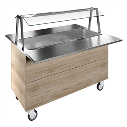 Flexy CompactBain-marie air ventilated, one well (4GN) with wheels H=900mm, overshelf with LED lights