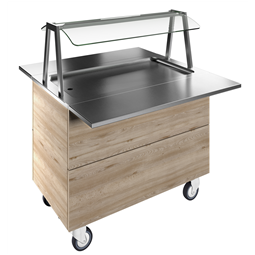 Flexy CompactRefrigerated stainless steel surface on cupboard (3GN) with wheels, overshelf with LED lights, H=900