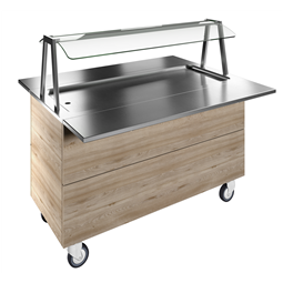 Flexy CompactRefrigerated stainless steel surface on cupboard (4GN) with wheels, overshelf with LED lights, H=900
