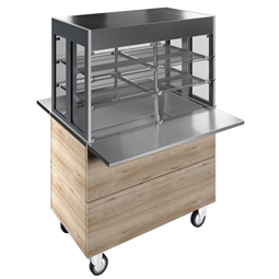 Flexy CompactRefrigerated well on cupboard with refrigerated display, compact (3GN) with wheels, overshelf with L