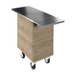 Flexy CompactAmbient unit on cupboard (1GN) with wheels, overshelf with LED lights, H=900mm