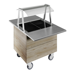 Flexy CompactTempered glass top on cupboard (2GN) with wheels, overshelf with LED lights, H=750mm