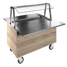 Flexy CompactRefrigerated stainless steel surface on cupboard (3GN) with wheels, overshelf with LED lights, H=750