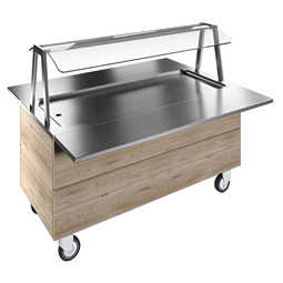 Flexy CompactRefrigerated stainless steel surface on cupboard (4GN) with wheels, overshelf with LED lights, H=750