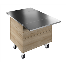 Flexy CompactAmbient Unit on cupboard (2 GN) with wheels and two stainless steel tray sliders, H=750mm