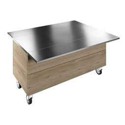 Flexy CompactAmbient Unit on cupboard (4 GN) with wheels and two stainless steel tray sliders, H=750mm