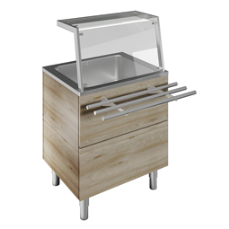 Flexy CompactBain-marie, one well (2GN) H=900mm, overshelf with LED lights