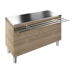 Flexy CompactAmbient Unit on cupboard (4 GN) with one stainless steel tray slider