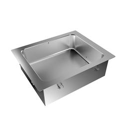Drop-inBagnomaria da incasso, ad acqua, con una vasca per 2 bacinelle GN