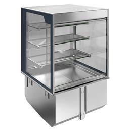 Drop-inVasca refrigerata da incasso con vetrina refrigerata squadrata, per servizio 4 ore, 2 GN