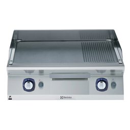 Modular Cooking Range Line700XP 800mm Gas Fry Top, Smooth and Ribbed Brushed Chrome Plate