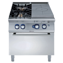 Modular Cooking Range Line900XP Gas Solid Top on Gas Oven with 2 Burners with 3mm worktop and electric ignition
