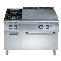 Modular Cooking Range Line900XP Gas Solid Top on Gas Oven with 2 Burners on cupboard