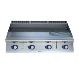 Modular Cooking Range Line900XP 1200mm Gas Fry Top HP, Smooth and Ribbed scratch resistant chromium Plate
