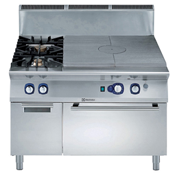 Modular Cooking Range Line900XP Gas Solid Top on Convection Oven with 2 Burners on Cupboard