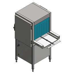Tunelové košové myčky nádobíODDĚLENÝ předmývací modul, poháněný myčkou, P>L