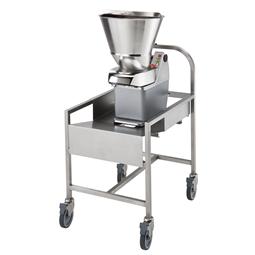 Gemüseschneidemaschinen<br>TR210 Gemüseschneider mit automatischem Einfülltrichter und Edelstahlwagen - 2 Geschwindigkeiten