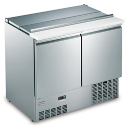 Digital UndercounterRefrigerated Counter Saladette - 66 gal (250 lt) 2 Door with lid and chopping board