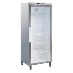 Digitális szekrények1 üveg ajtós hűtőszekrény, 400 L, rozsdamentes acél