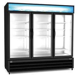Refrigeration Equipment<br>Merchandiser Freezer, 72 cu.ft, 3 Glass Door, black (R404a)