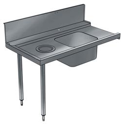 Handling systeem voor afwasmachineAanvoertafel voor korventransportmachine links > rechts, spoelbak, afvalgat, 1200 mm