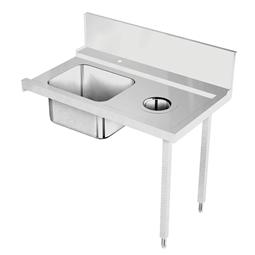Handling systeem voor afwasmachineAanvoertafel voor korventransportmachine rechts > links, spoelbak, afvalgat, 1200 mm
