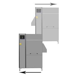 Afwas apparatuurSingle-Rinse korventransportmachine, 100 k/u, R>L en L>R, elektrisch