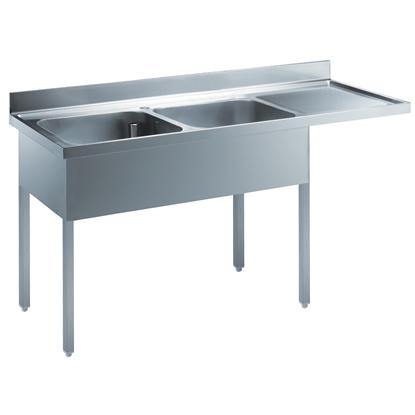 Preparazione Statica StandardLavatoio con 2 vasche e gocciolatoio destro, per lavastoviglie sottotavolo, da 1800 mm