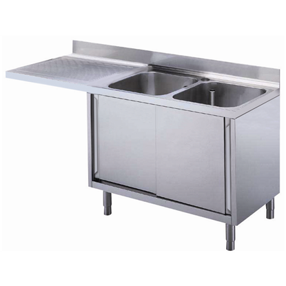 Premium Preparation1800 mm Cupboard Sink for Dishwasher with 2 Bowls & Left Drainer