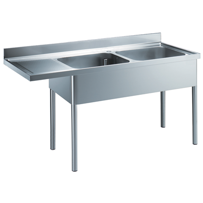 Premium PreparationSink Unit with 2 Bowls - Left Drain