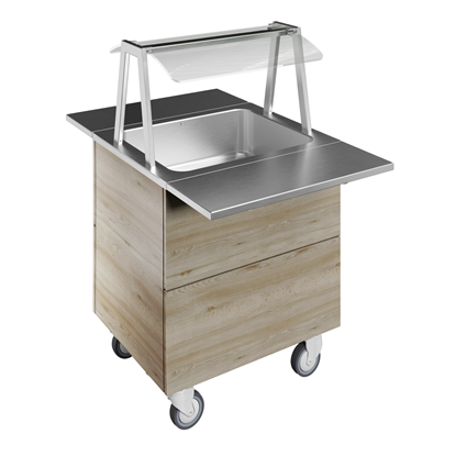 Idea<br>Bain-marie, one well (2GN) with wheels H=900mm, overshelf with LED lights
