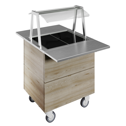 Idea<br>Tempered glass top on cupboard (2GN) with wheels, overshelf with LED lights, H=900mm