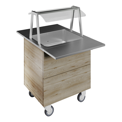 Flexy CompactRefrigerated well on cupboard, static (2GN) with wheels, overshelf with LED lights, H=900mm