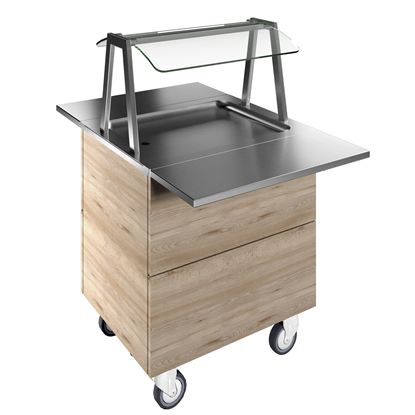 Flexy CompactRefrigerated stainless steel surface on cupboard (2GN) with wheels, overshelf with LED lights, H=900