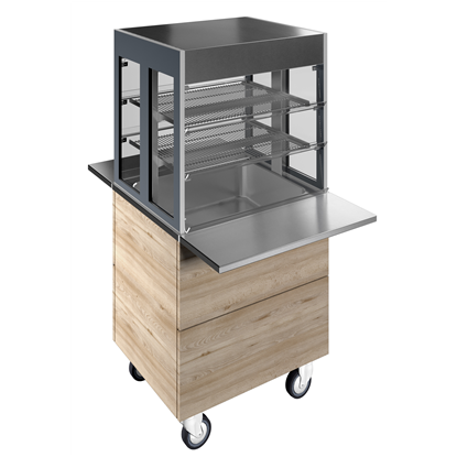 Flexy CompactRefrigerated well on cupboard with refrigerated display, compact (2GN) with wheels, overshelf with L